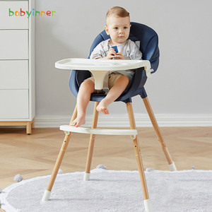 Babyinner Adjustable Baby Dining Chair Multi-function Booster Seat Feeding Lunch Chair Double Dinner Plate Baby High Chair J1203