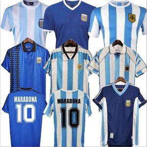 1978 1986 1998 Argentinien Maradona Home Away Fussball Jersey Retro Version 86 78 Maradona Caniggia Football Hemden