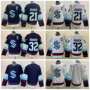 Seattle Kraken 32th Yeni Takım 32 Kraken 21 Kraken Ev Mavi Yol Beyaz Hokey Jersey Boş Stokta Hızlı Kargo
