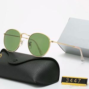 YXTJTJ Klasik Tasarım Marka Yuvarlak Güneş Gözlüğü UV400 Gözlük Metal Altın Çerçeve Yalın Gözlük Erkek Kadın Ayna Cam Lens Güneş Gözlüğü Kutusu