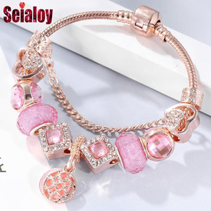 SEIALOY Rose Gold Charm Bracelets For Women Heart Pink Crown Sven Beads Bracelet Bangle Fit Girls Couple Friendship Jewelry Gift