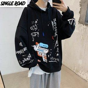 Singleroad Mens Hoodies Men Autumn Graffiti Oversized Harajuku Japanese Streetwear Sweatshirts Sweatshirt Black Hoodie Men Y201123