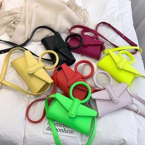 Moda Mulheres Sacos de Ombro Anel Crossbody Plain Hansbags Pequeno Novo Candy Color Girl Presente irmã Saco