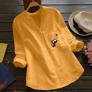 Women Cat Print Blouse Cotton linen Casual Long Sleeve Shirt Blouse Button Down Tops womens tops and blouses Loose Shirts Top