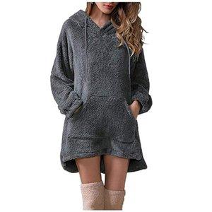 2021 Yeni Kış Bayan Moda Kapüşonlu Elbise Sıcak Katı Uzun Kollu Elbise Peluş Cep Ceket Katı Renk Giyim Femme Tops