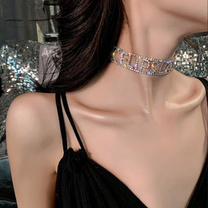 Hot sale girl silver shiny rhinestone letter clavicle chain luxury rhinestone short necklace collar necklace female accessory