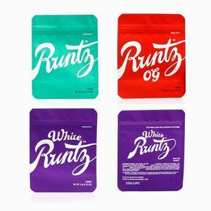 NEW Runtz OG Mylar Bag White 3.5g Purple Red Green Zipper Bags Smell Proof Childproof Dustproof Storage for Dry Herb Tobacco Flower Hot