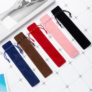 حقيبة القلم المخملية تصميم الإبداعية أفخم الحقيبة حامل واحدة حقيبة قلم رصاص القلم القضية مع حبل مكتب مكتبة لوازم الكتابة أكياس تخزين WY1066