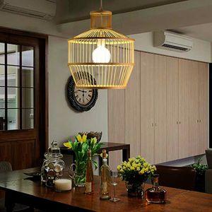 Handmade Bamboo Wicker Rattan Shade Pendant Light Fixture Rustic Asian Hanging Ceiling Lamp for Farmhouse Restaurant Room Bulb