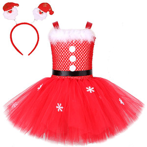 Santa Claus Dress for Girls Father Christmas Costumes for Kids Xmas Holiday Tutu Dresses Outfit Baby Girl New Year Clothes 1-12Y F1203