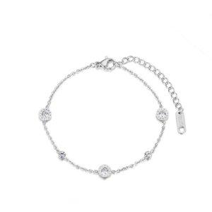 Numéraux romains classiques Cubic Zirconia Chaîne Chaîne Bracelets Bijoux Bijoux Titanium Steel Charms Bracelet pour femme