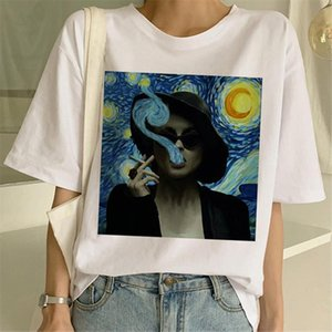 Van Gogh Painting T shirt Women Ulzzang Female Funny Streetwear Casual Harajuku 90s Top Tees Kawaii white thirts