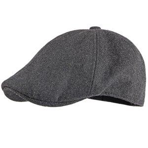 Kış Tasarım Sonbahar Bere Kap Yün Şapka Katı Siyah Gri Sekizgen Newsboy Kap Erkekler Vintage Sanatçı Ressam Bere Şapkası Erkek Bere