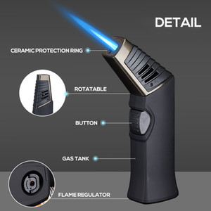 Table Torch Cigar Lighter Refillable Windproof Adjustable Direction Jet Lighters For Cigar Kitchen Cooking BBQ