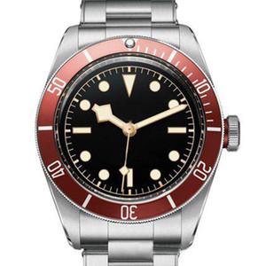 Moda Mens l Movimento Automático Homens Mecânicos Relógios De Pulso Vermelho Bezel Black Dial Rotor Montres Frasco Sólido Geneve Watches Man Watch