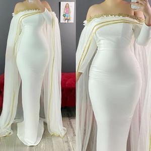 ASO EBI Sirène Robe de soirée enceinte à l'épaule à manches longues à manches longues Appliques de bal classique avec cape marocaine