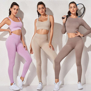 Yoga Set Tracksuit 2 Piece Set Women Leggings Sports Bra Sport Outfits Gym Clothing Fitness Crop Top Seamless Workout Suits
