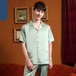 Silk Satin Couple Pajama Summer Pijama Hombre Mens PJs Set 2Pieces Solid Sleepwear Sleep&Lounge Long Sleeve Leisure Wear Pajamas Q1202