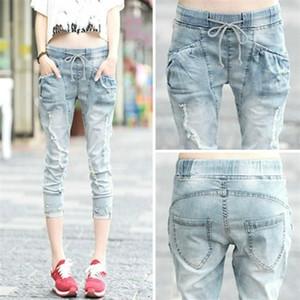 Fashion Capris Jeans Woman Summer 2020 Female Elastic Waist Calf-Length Ripped Hole Denim Pants Jeans Capri For Women Jean Femme A1112