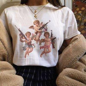 New Summer 2019 Women Clothes Harajuku Kawaii Angel Michelangelo Aesthetics Tshirt Women Vogue Casual Print Short Sleeve Tee