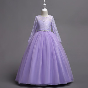 Long Sleeves Tulle Flower Girl Dresses with Lace Crystal 2021 In Stock Kids Communion Dress Lavender White Red Blue