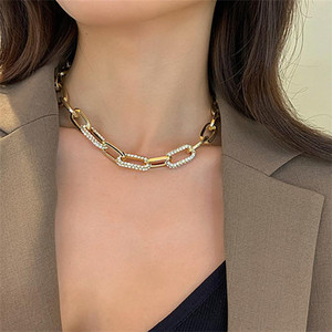 Rhinestone micro thick link chain necklace for women gold plated shiny punk chunky necklace punk hip-hop