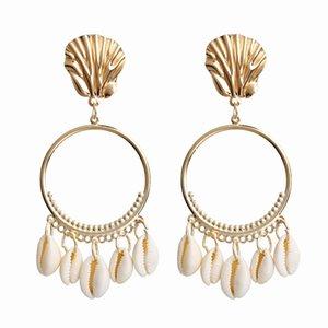 Seashell Earrings 7 Colors Big Circle Dangle Earrings for Women Alloy Sea Shell Ear Stud Summer Pendant Earring LJJO7093