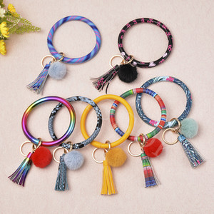 23 Colors Tassels Bracelets With Plush Ball Leather Wrap Key Ring Keychain Wristband Sunflower Drip Oil Circle Bangle Chains Wristlet DB320