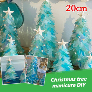 Beautiful Green Christmas Tree Creative Unique Christmas Decoration Sea Beach Resin Tree New Year Eve Decorations 1PC