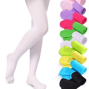 Free DHL INS 19 Colors Girls Pantyhose Tights Kids Dance Socks Candy Color Children Velvet Elastic Legging Clothes Baby Ballet Stockings