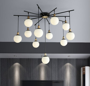 Nordic Living Room LED Chandelier Glass Ball Lights Magic Bean Chandelier Postmodern Minimalist Restaurant Creative Chandeliers