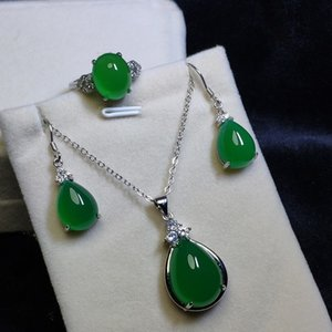 LETSFUN 3pcs S925 Sterling Silver Natural Green Jade Gemstone Necklace Earrings Ring Women Jewelry Set luxurious