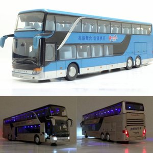 3 Types 1 Pcs High Quality 1:43 Alloy Pull Back Bus Model Simitation Double Sightseeing Bus Flash Toy Vehicle Gift Children No.2 Y200109