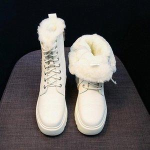 Wedge Knöchelstiefel Lace Up Damen Schuhe Hidden Heel Boots Winter Plüsch Chunky Platform Frauen Schwarz Beige Botas Mujer # OK4I