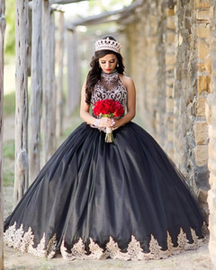 Luxury Vestidos De 15 Años Black Quinceanera Dresses Crystal Beaded Appliqued Undefined Corset Ball Gown Sweet 16 Dress
