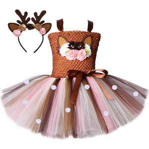 Flower Deer Tutu Dress Tulle Baby Girls Christmas Birthday Party Dress Kids Halloween Reindeer Elk Cosplay Costume with Headband Z1127