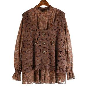 Sondr 2020 otoño e invierno nuevo Tops Fake Two Piece Hollow Crochet con camisa de encaje