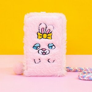 Girls Plush card Holder Bag Embroidery Dog Cat Cute Purse Bus Case Bank Card Rope Bags Pocket Pouch Kids Small Wallets