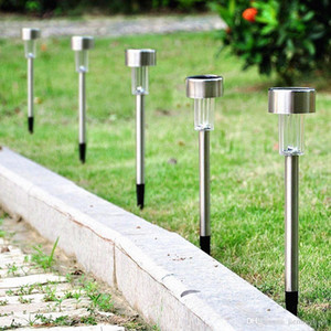 Aço inoxidável Reino Unido Stock 10pcs LED Luz Solar Lawn Garden Outdoor Party Light Lamp Corredor Sun Lamp Cor Branco