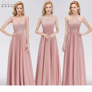 Vestido Madrinha Pink Lace Long Bridesmaid Dresses Sexy A Line Chiffon Dress For Wedding Party Robe Demoiselle D'honneur C19041901