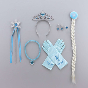 ICE и Snow Set Детский подарок Aisha Wig Crown Princess Headdress Magic Wand Unicorn