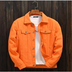 Новые модные мужские весной и осенью оранжевая джинсовая куртка мужская повседневная куртка верхняя одежда верхняя одежда пальто