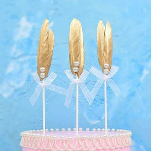 Pearl Golden Feather Birthday Cake Topper Decoration Plug-in Card Insert Flag Beautiful Creative Swan Cake Decoration