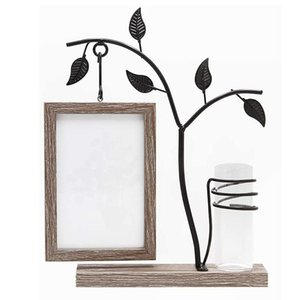 Family Piture Frame 4x6 Vertical Metal Tree Desk Photo Frames with Glass Terrarium Vase Flower Plants (Tree)