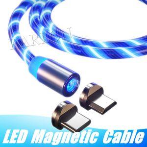 마그네틱 케이블 3 in 1 빠른 충전기 LED 흐르는 빛 유형 C 케이블 빠른 충전 라인 안 드 로이드 2A 마이크로 USB 케이블 충전기 코드