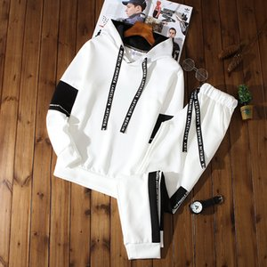Mens Hooded Sets Fashion Autumn Spring Sporting Suits Men Sweatshirt Sweatpants Men's Hoodies Clothing Sweatshirts Set Tracksuit T200324