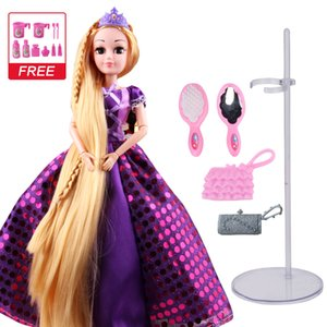 UCanaan 30CM Sweet Princess Dolls Rapunzel Toys For Girls Joint Moving Body Beauty Thick Full Long Blonde Hair Doll For Children T200712