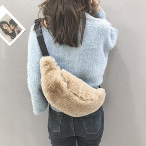 Women Fluffy Chest Bag Waist Pack Solid Color Small Bags Female Bag Autumn and Winter Fashion Waist Bags