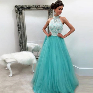 White And Turquoise Prom Dresses Long A Line Lace Tulle Halter Neck Formal Evening Gowns Girls Homecoming Graduation Party Celebrity Dress