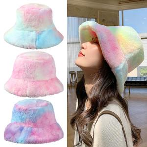 Широкие шляпы Breim Hates Прибытие из искусственного мех зимний галстук-красительную шляпу для женщин девушка мода утолщенные мягкие теплые рыболовные крышки открытый каникулы